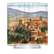 The Fortified Walled Village Of Gualdo Cattaneo Umbria Italy Shower Curtain