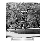 The Fountain And The Ride In Black And White Shower Curtain