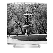 The Fountain In Black And White Shower Curtain