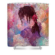 The Girl Of Many Colors Shower Curtain