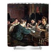 The Glass Blowers Shower Curtain by Charles Frederic Ulrich