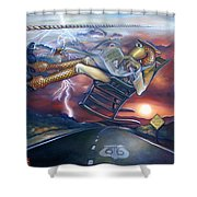 The Grinder Shower Curtain by Patrick Anthony Pierson
