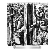 The Guillotine, 18th Century Shower Curtain by Science Source