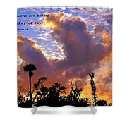 The Heavens Tell Shower Curtain
