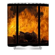 The Home Fires Are Burning Triptych Shower Curtain