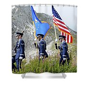 The Honor Guard Posts The Colors Shower Curtain