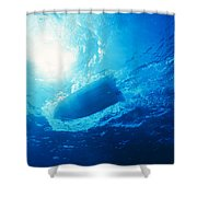The Hull Of A Speed Boat Dingy Races Shower Curtain