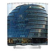 The Imposing Glass Greater London Mayoral Building On The Banks Of The Thames Shower Curtain