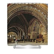 The Interior Of The Lower Basilica Of St. Francis Of Assisi Shower Curtain by Thomas Hartley Cromek