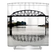 The International Peace Bridge Between The United States  And Canada Shower Curtain