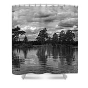 The Island In The Midlle In Bw Shower Curtain