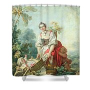 The Joys Of Motherhood Shower Curtain by Jean-Honore Fragonard