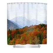 The Julian Alps In Autumn At Lake Bohinj Shower Curtain