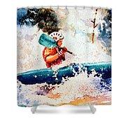 The Kayak Racer 18 Shower Curtain