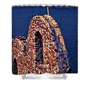 The Last Wall Standing Santorini Greece Shower Curtain