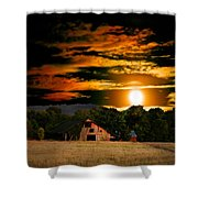 The Late Sam's Rd. Barn In The Moonlight Shower Curtain
