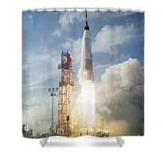 The Launch Of The Mercury-atlas 4 Shower Curtain