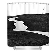 The Long And Winding Road Bw Shower Curtain