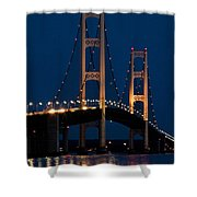 The Mackinaw Bridge At Night By The Straits Of Mackinac Shower Curtain