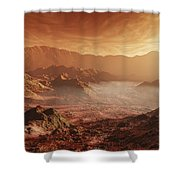 The Martian Sun Sets Over The High Shower Curtain