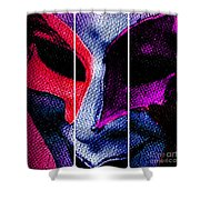 The Masks We Hide Behind Tryptic Print Shower Curtain