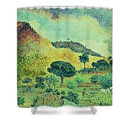 The Maures Mountains Shower Curtain by Henri-Edmond Cross