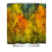 The Mist In The  Autumn Shower Curtain