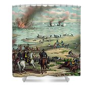 The Monitor And The Merrimac 1862 Shower Curtain by Photo Researchers