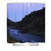 The Moon Appears Over The Rogue River Shower Curtain