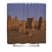 The Moon Rises Over Limestone Pinnacles Shower Curtain