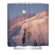 The Moon Rises Over Snow-blown Peaks Shower Curtain