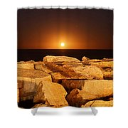 The Moon Rising Behind Rocks Lit Shower Curtain