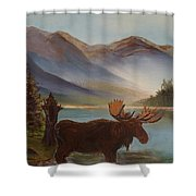 The Mountain Moose Shower Curtain