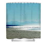 The Mountains And The Pier Shower Curtain