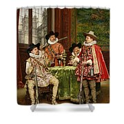 The Musketeer's Tale Shower Curtain by Adolphe Alexandre Lesrel