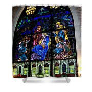 The Nativity Stained Glass Shower Curtain