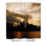 The New York City Skyline At Sunset Shower Curtain by Vivienne Gucwa