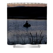 The Night Fisherman Floats Shower Curtain