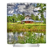 The Old Barn By The Pond Shower Curtain
