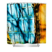 The Old Blue Door Shower Curtain