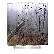 The Old Fence - Blue Misty Morning Shower Curtain