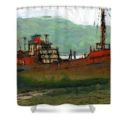 The Old Fishing Trawler Shower Curtain