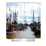 The Old Harbor Shower Curtain