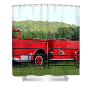 The Old Red Fire Engine Shower Curtain