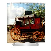 The Old Stage Coach Shower Curtain by Susanne Van Hulst