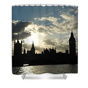 The Outline Of Big Ben And Westminster And Other Buildings At Sunset Shower Curtain
