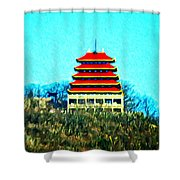 The Pagoda Shower Curtain