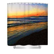 The Painted Waves Of Dawn  Shower Curtain