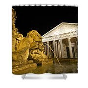 The Pantheon At Night. Piazza Della Rotonda.rome Shower Curtain