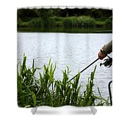The Patient Fisherman Shower Curtain